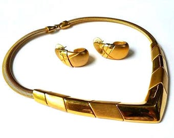 Vintage 80s NAPIER Gold Collar Necklace & Earrings 12K Plated TAILORED COLLECTION Vtg Costume Jewelry 1980s Geometrical Signed Demi Parure