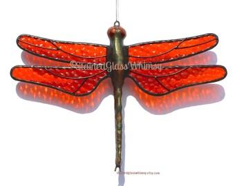 Orange Stained Glass DRAGONFLY Suncatcher, Orange Tangerine Wings, Textured, Handcast Metal Body, USA Hand-Made, Orange Dragonfly, Tangerin