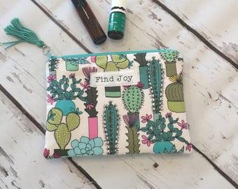 Essential Oil Travel Bag, Essential Oil Case, essential oil storage, Inspirational , Cactus Find Joy Roller bottle or 5ml holds 6-8)