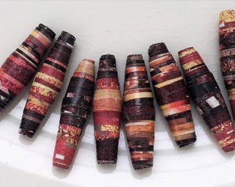 autumn fires--pink salmon peach and black multicolored handmade paper beads--lot of 8