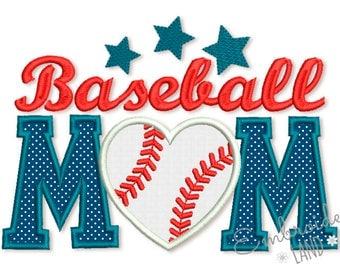 Baseball Mom Applique Machine Embroidery Design 5x7 6x10 hoop SP017