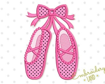 Ballet Shoes with Bow Applique Embroidery Design Machine Embroidery for Girls 4x4 5x7 6x10 hoop sizes GRL017