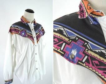 Vintage 80s Southwestern Print Shirt - Black and White Geometric Statement Blouse - Rough Rider Dress Shirt - Size Small