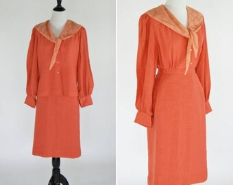 SUMMER SALE Vintage 1950's Orange Blouse Skirt Set- Orange Lace Blouse and Matching Skirt- 50's Cotton Skirt Set - Ladies Small to Medium