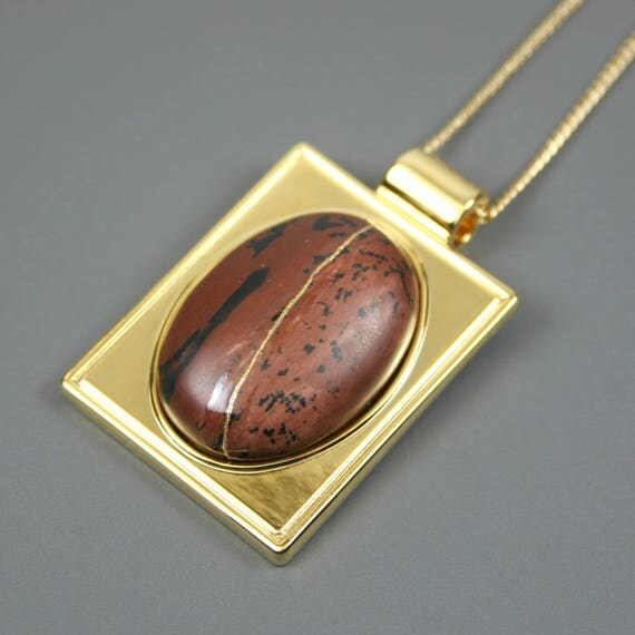 Kintsugi (kintsukuroi) mahogany obsidian stone cabochon with gold repair in a rectangular gold plated setting on gold chain - OOAK