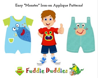 Boys Sewing Pattern Easy Monster Iron-on Applique Patterns. Children Clothing Patterns, INSTANT DOWNLOAD. Toddlers Tees, Pants, Shorts, Bibs