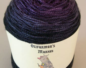 Ozimerino.  Hand-dyed dark purple to black gradient yarn.  Cabernet