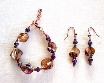 One Of A Kind Statement Bracelet & Dangle Earrings Fabulous Fiery Iridescent Mother of Pearl Jewelry Elegant Gift for Her Birthday Present