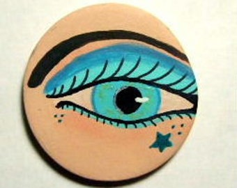 Blue eye cabochon jewelry mixed media art