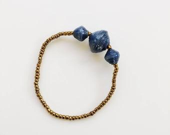 Navy Three Bead Bracelet - made in Uganda