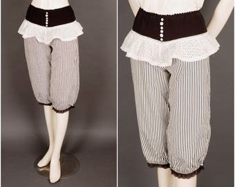 Striped BUSTLE BLOOMERS lace ruffles black cream Size S steampunk victorian