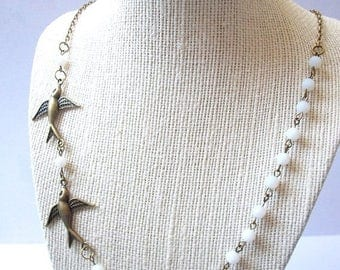 SUMMER SALE SAMPLE Sale Sparrow Necklace Womans Sideways Short Bead Necklace Translucent White Antique Style Bird Minimalist Antique Bronze