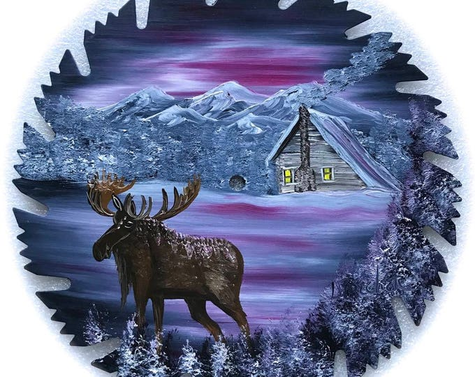 Hand Painted Saw Blade Gray Mauve Winter Log Cabin and Moose