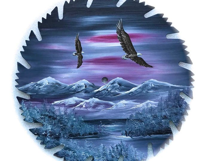 Hand Painted Saw Blade Mountain Scenery Gray Winter Pair Eagles