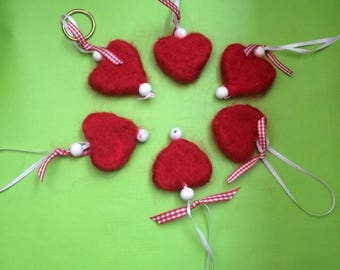 Manchester Red merino felted Hearts
