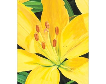 Traditional Wall Art 'Heart of a Yellow Lily' by Cathy Pearson - Floral Decor Traditional Lily Artwork on Metal or Plexiglass