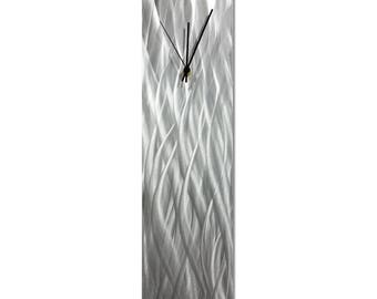 Contemporary Wall Clock 'Silver Waves Clock' by Nate Halley - Original Modern Kitchen Clock Silver Decor on Natural Aluminum
