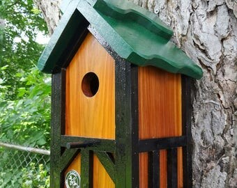 Bird house, Nesting Box , outdoor functional bird house, Handmade, EZ Cleanout, green roof Tudor, thatch style- Made in USA fully functional