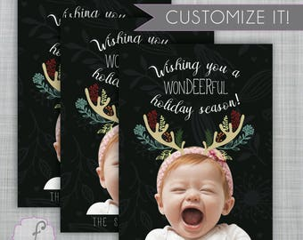WonDeerful Holiday, Deer Picture card, Reindeer Photo Card, Christmas Photocard, Printable Christmas Card, DIY Christmas Card