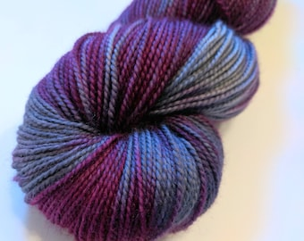 Magenta gray on Max 80/20 SW Merino Nylon Hand dyed fingering weight sock yarn