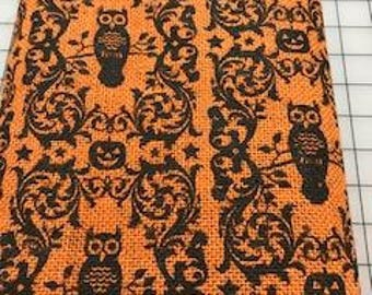 Burlap Fabric ! HALLOWEEN OWLS & PUMPKINS