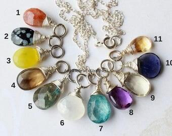 Gemstone Pendant Charm Necklace, Sterling Silver wire wrap, quartz obsidian jade labradorite moonstone blue topaz amethyst iolite citrine