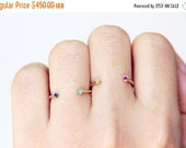 ON SALE Gold Birthstone Ring, Dual Gemstone Ring, Gold Horseshoe Ring, Sapphire and Emerald Ring, September Birthstone Ring, May Birthstone