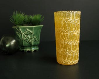 Vintage Spaghetti String Drinking Glass by Colorcraft Single Replacement Bright Lemon Yellow and White Tumbler
