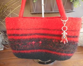 Hand Knit Felted Handbag, Red Purse, Hand Knit Felted Purse, Handbag, Black Purse