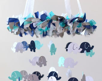 READY TO SHIP Elephant Mobile in Navy, Aqua, Gray, & White- Nursery Mobile Decor, Baby Shower Gift