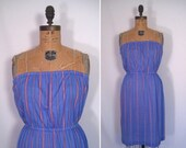 20% off sale : 1970s lavender striped sundress • 70s pastel purple pinstriped strapless day dress • vintage summer samba dress