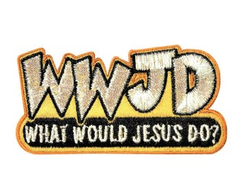 """WWJD """"What Would Jesus Do?"""" Christian Faith Iron-On Patch Shiny Thread Applique"""