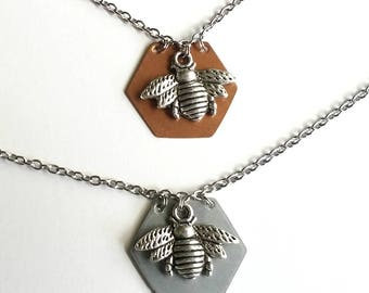 Bee Amazing Necklace - Insect - Bee Necklace - Copper