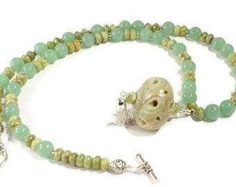 Necklace Jade Necklace  Agate Pendant  Beaded Necklace OOAK Design Necklace