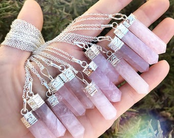 """Silver capped ROSE QUARTZ point necklace // gold // sparkle // magic // 28"""" ready to ship"""