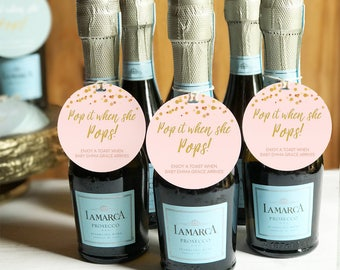 Baby Shower Favors Girl, Baby Shower Favors, Baby Shower Girl, Pink Baby Shower, Pop It When She Pops, Champagne Party Favors, Personalized