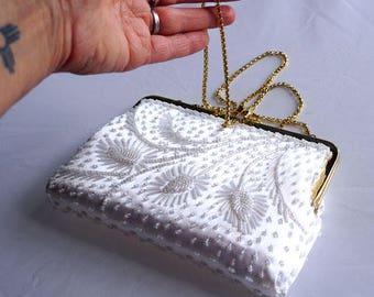 Vintage Regal Gold Chain Beaded White Satin Dress Purse