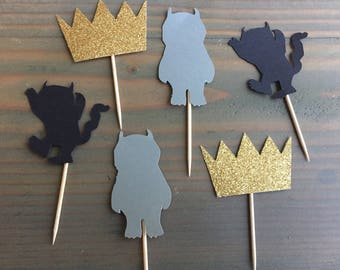 12 Where the Wild Things Are cupcake Toppers, wild one birthday party, baby shower, party decor
