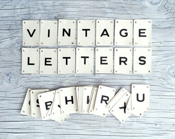 Small vintage game letter cards. Make a word or name you choose. For art, collage or to frame. Check description for availability.