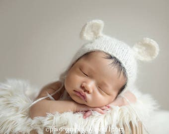 Newborn Mohair knit bear bonnet -newborn mohair props-many colors available