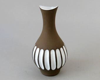 Vintage 1960's Larholm Norway Art Pottery Fluted Vase 8in Tall Matte Brown Glossy White Studio Ceramics Danish Modern Hand Crafted In Norway