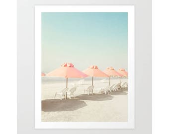 SALE Beach print, beach prints, pink beach umbrella art, coral wall art, coral bathroom wall art, beach wall art, beach photography, canvas