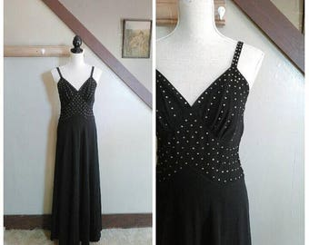 20% OFF / Star Dust 1930s Black Crepe Evening Gown with Rhinestone Detail