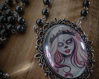 Cameo Rosary chaplet calavera dia los muertos ♰ Señorita ♰