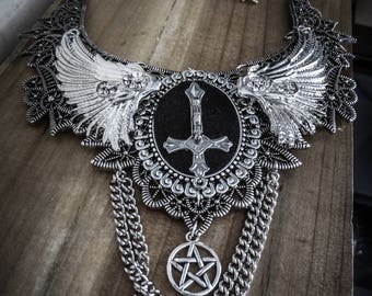 Silver pentagram cross ♰ 666 Antichrist 666 ♰ lace bib necklace