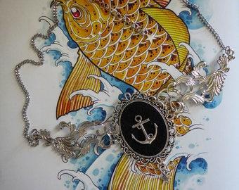 "Necklace cabochon silver felt Boho Chic steampunk ""Sailor Jerry"""