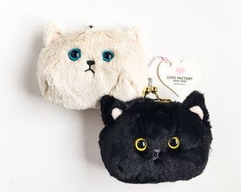 Kawaii Cat face coin purse black cat cream cat-kitty purse-cat pouch-gift for cat lover-kitty cat-coin purse-coin case-love factory NY