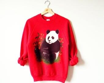 Vintage Panda Pullover Sweatshirt / 90s Cozy Statement Sweater / Bright Red Animal Sweatshirt