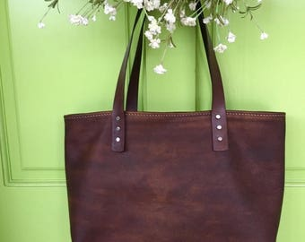 ON SALE NOW Small Soft Leather Handbag* Custom Made Handbag* Leather Tote* Distressed Leather Bag* Handmade in the Usa