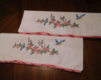 Vintage Pair White Cotton PILLOWCASES with Blue Bird Design & Crochet Trim